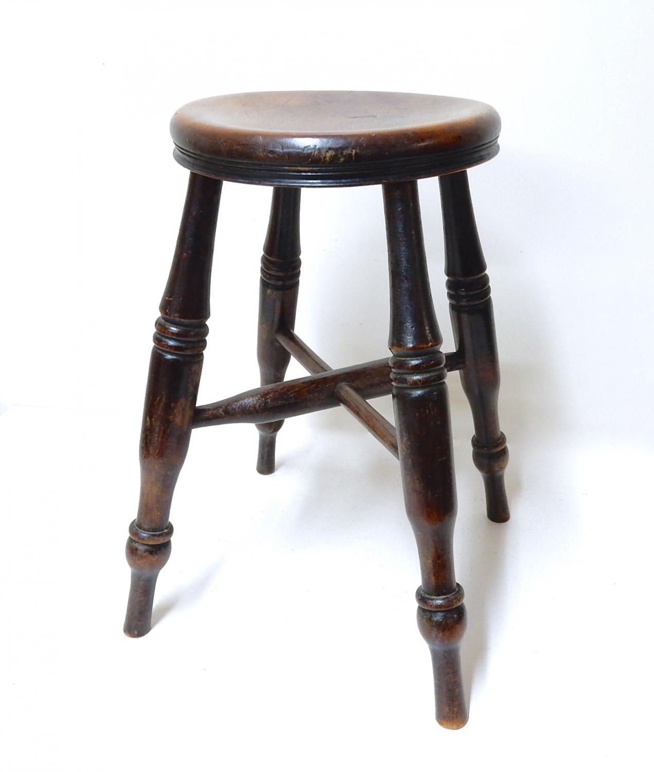 Low Windsor stool with cross stretcher Elm and Walnut Original, untouched condition
