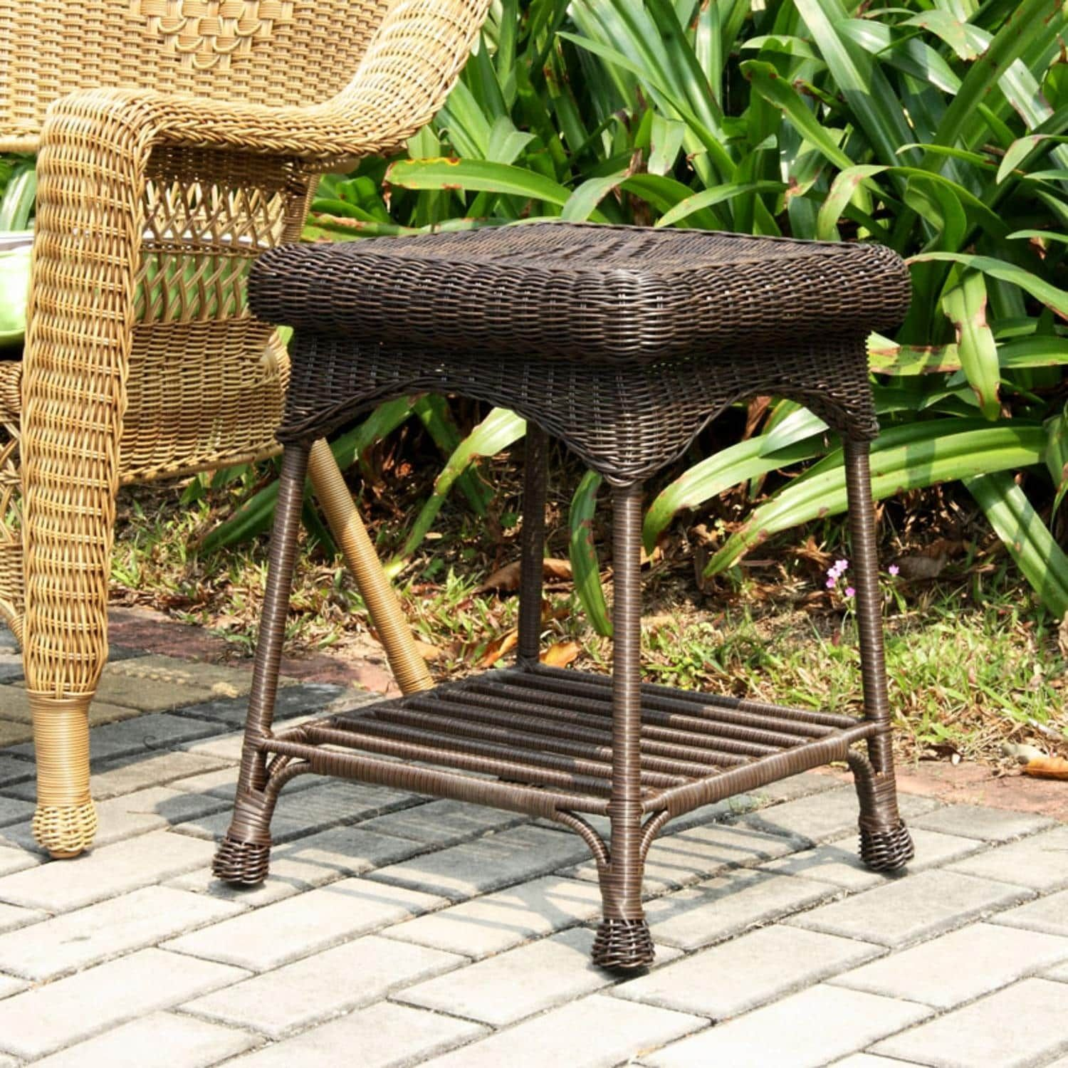 21 Espresso Brown Hand Woven Resin Wicker Indoor Outdoor Patio