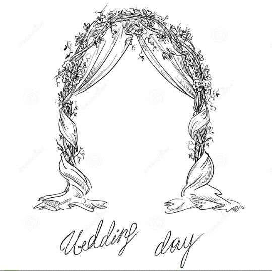 Line Botwin Wedding Ilrations Bridal Arch Drawing Sketche