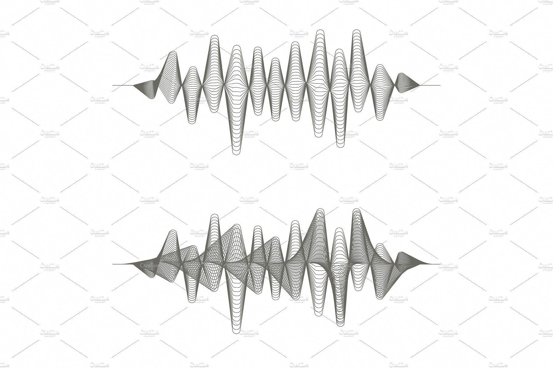 Two Monochrome Sound Waves On White Background By Woters