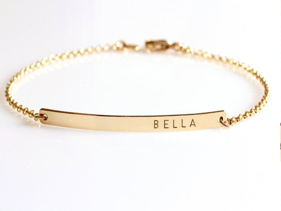 Mothers Bracelet Custom Name Gold Bar Kids Names Personalize Initial Nameplate Monogram Day Gift