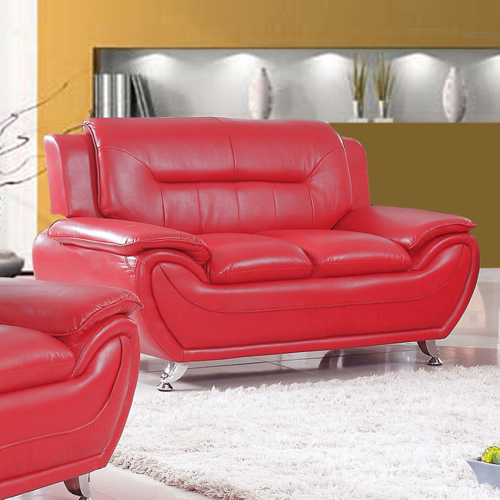Swell Us Livings Anika Faux Leather Modern Loveseat Red Products Evergreenethics Interior Chair Design Evergreenethicsorg