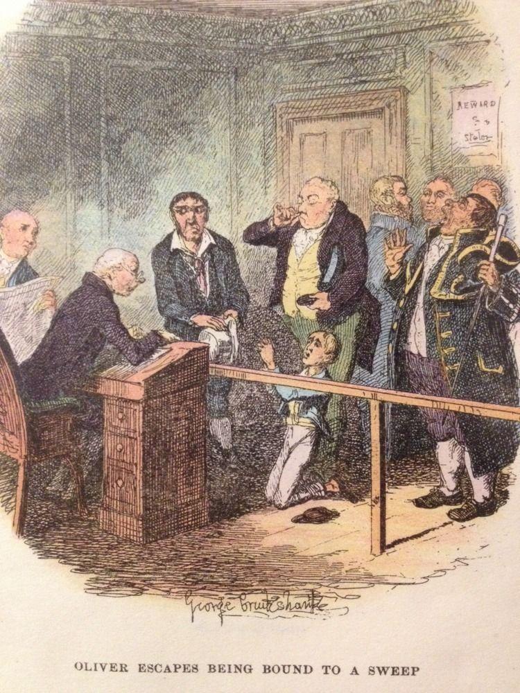 Antique Charles Dickens  Oliver Twist  Hand Coloured Book Illustration Pub  1888