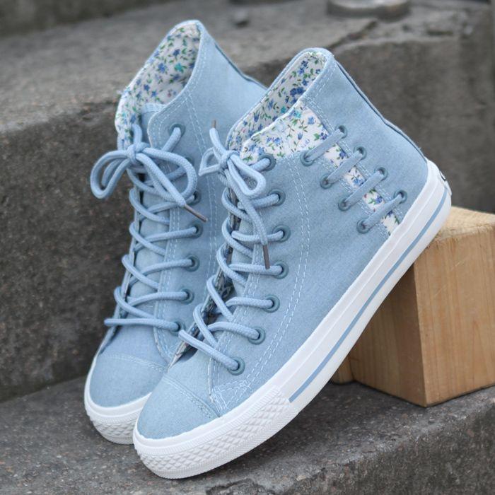 01fba56e1cfb Floral denim canvas lace shoes from Cute Kawaii {harajuku fashion ...