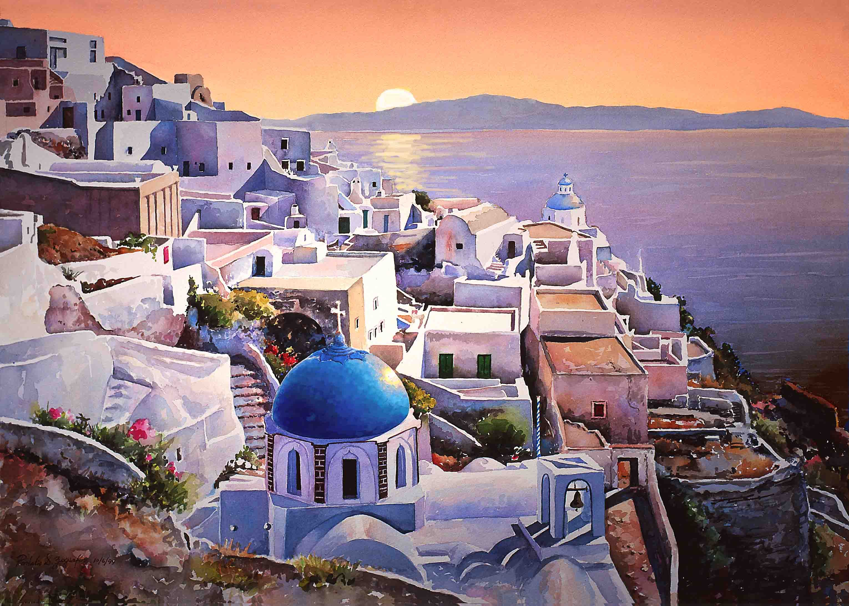 Santorini Is A Beautiful And Small Semi Circular Archipelago Of
