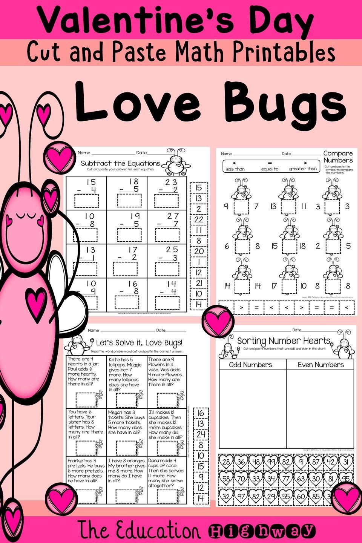 Cut and Glue Valentine\'s Day Math Printables. Print and teach. Grade ...