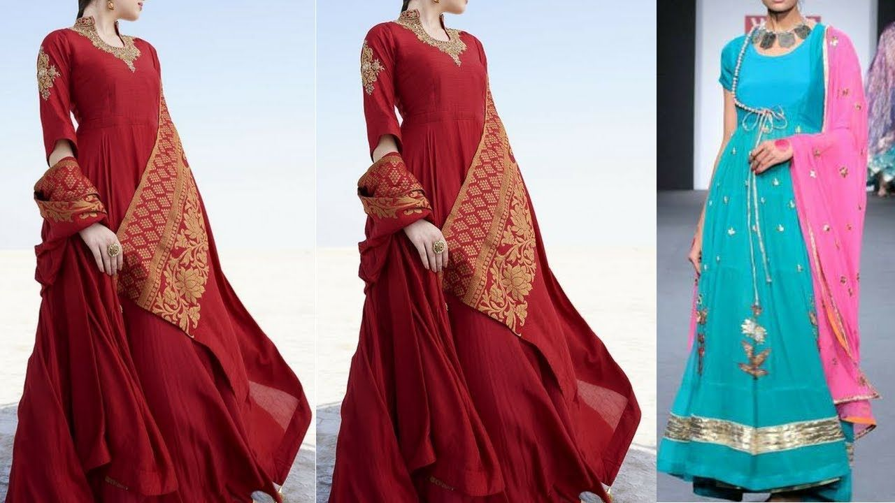 Party wear long kurta with dupatta designs long dress with