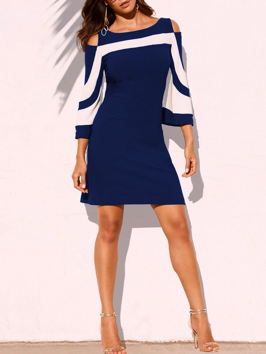 Boat neck color block bodycon dress in sundress pinterest