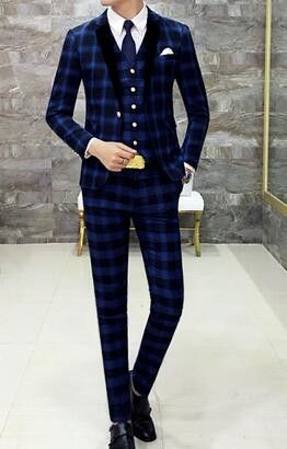Classic Complete Mens Plaid Suits Beach Wedding Tuxedo Skinny Prom ...
