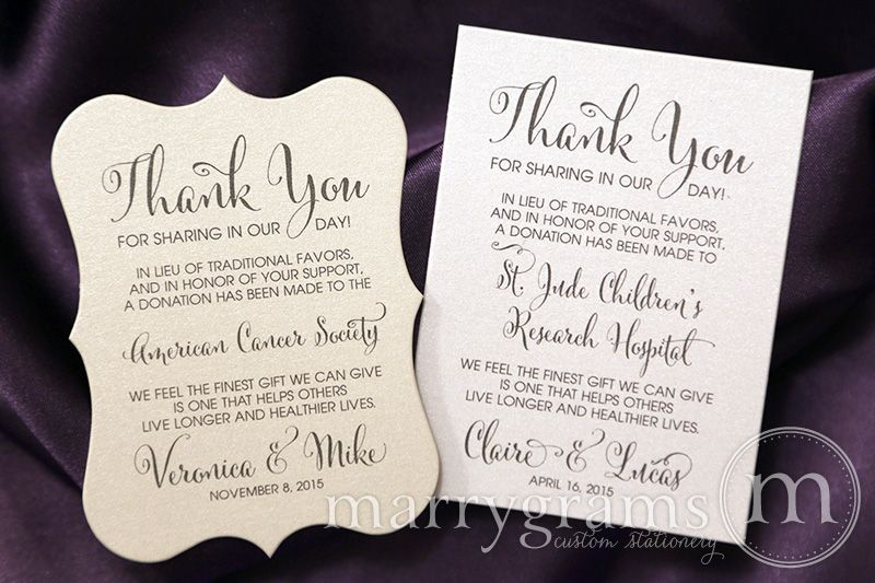 This Custom Wedding Favors Donation Card Is The Perfect Way To Inform Guests Of Your Charitable In Lieu Traditional