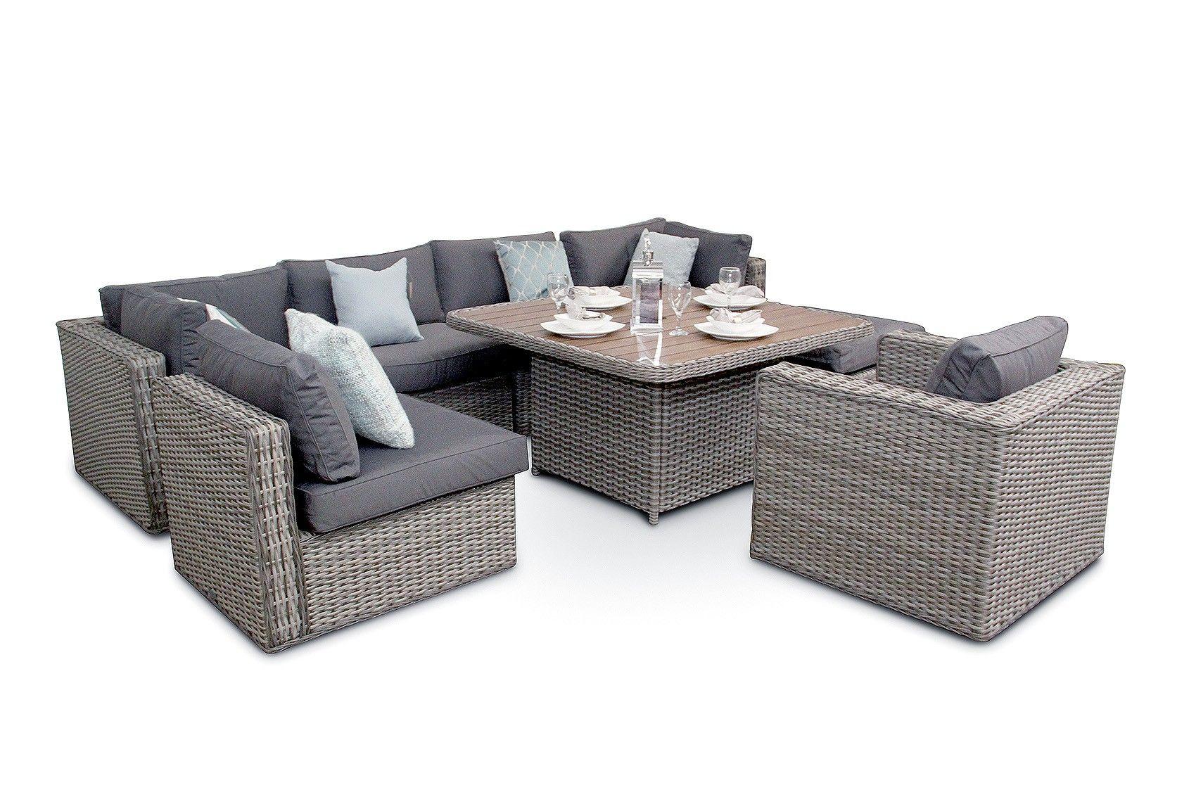 ascot 8pc rattan and acacia garden modular sofa dining set rh pinterest com