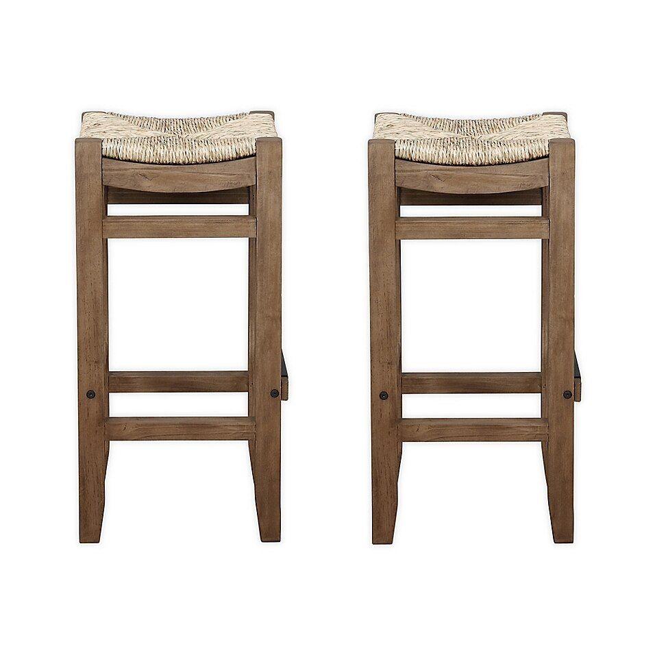 Rush Seat Hardwood Barstool White Boraam White Bar Stools Bar Stools Backless Stools