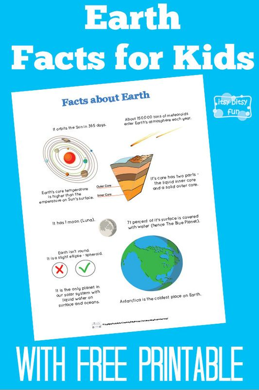 Fun Earth Facts for Kids | Free printables, Earth and Free