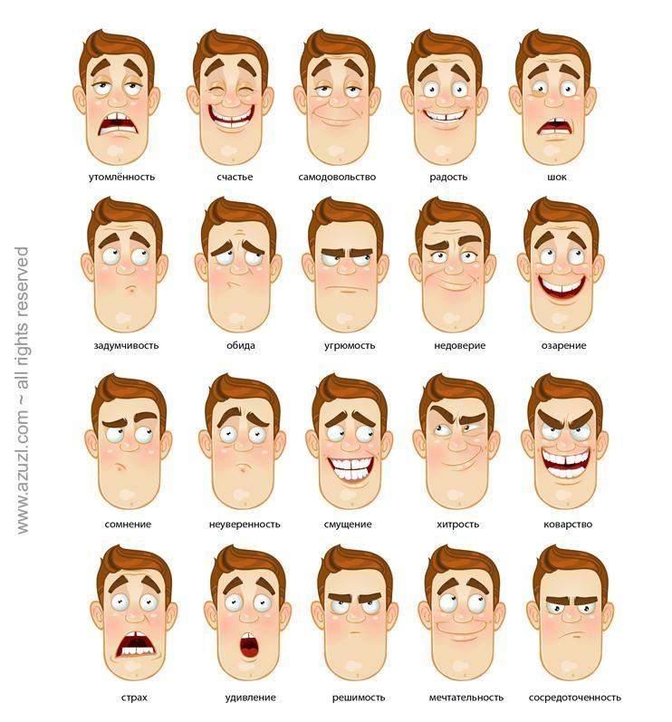 http://fotto.ru/tag/kartinki_emotsii/wmth | Мимика, Выражения лица,  Иллюстрации