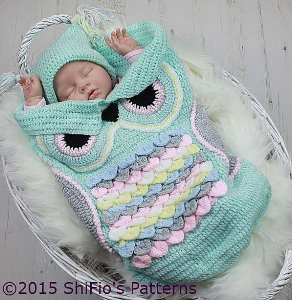 Crochet pattern for owl baby cocoon | Baby coon and sacks | Pinterest