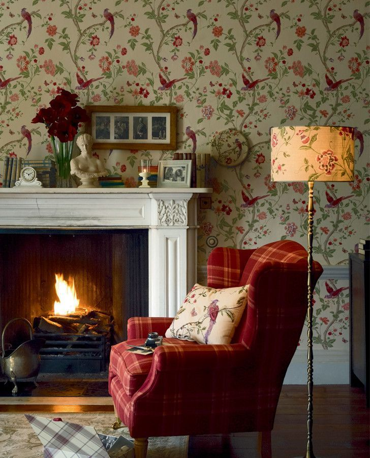 Cozy Chair By The Fireplace. I Also Love The Wall Paper