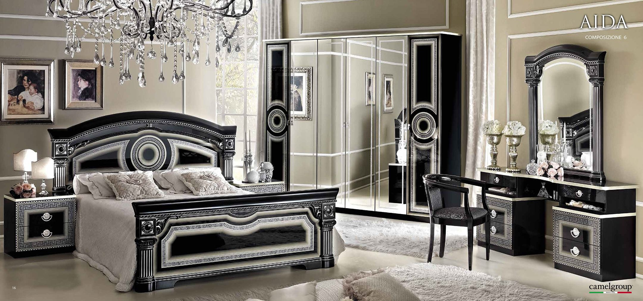 Aida Black w/Silver, Camelgroup Italy, Classic Bedrooms, Bedroom ...