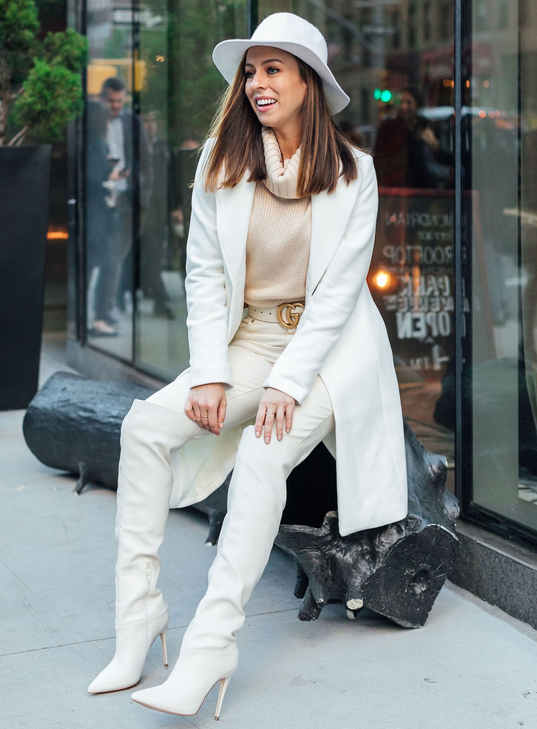 95daeb26c9d8 Sydne Style shows how to wear winter white with guess over the knee boots  #coats