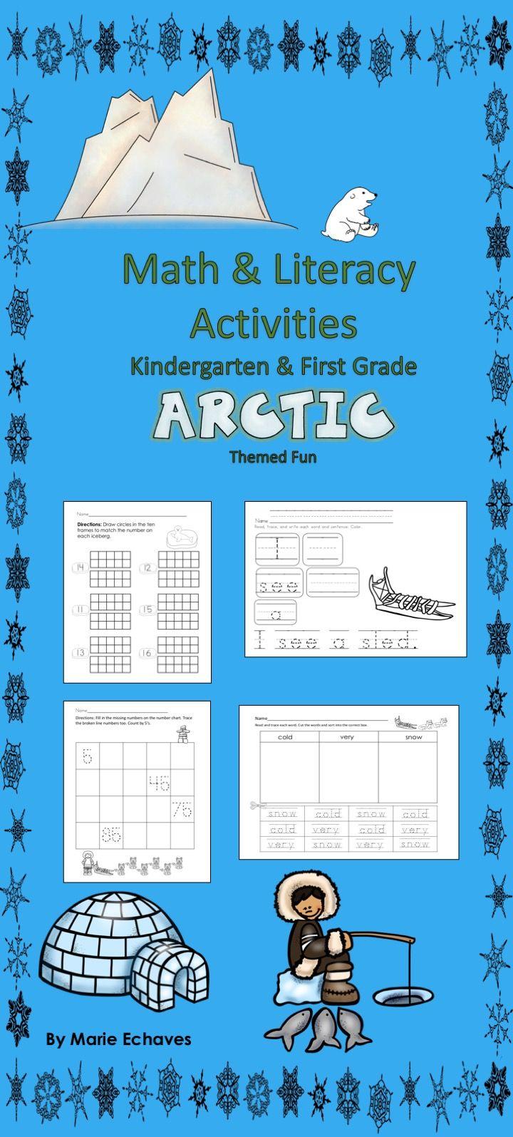 Math and Literacy Activities for Kindergarten & First Grade Arctic ...