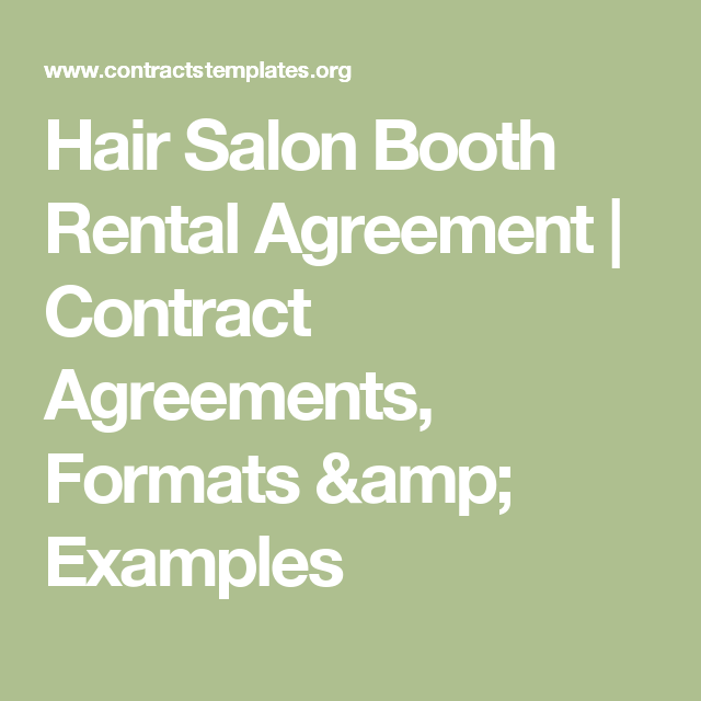 Hair Salon Booth Rental Agreement  Contract Agreements Formats