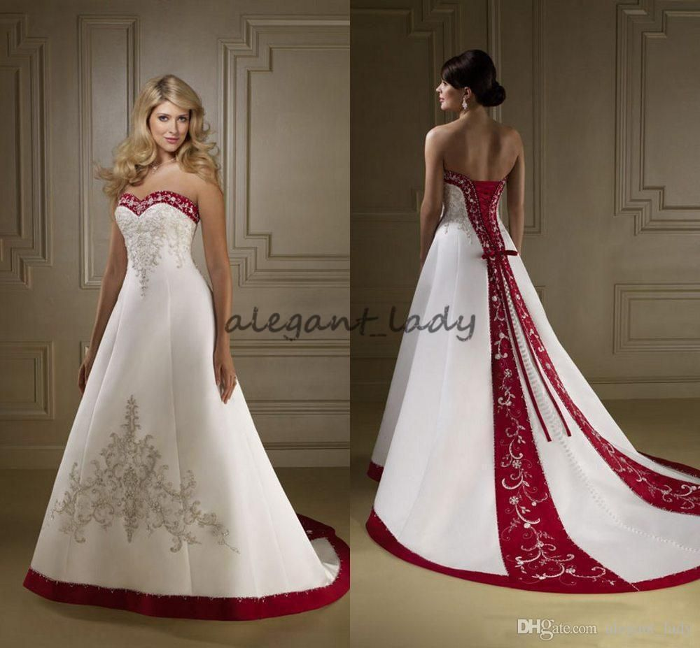 Vintage Red And White Satin Embroidery Wedding Dresses Strapless A Line Lace Up Court Train Spring White Wedding Gowns Red Wedding Dresses Wedding Gown A Line