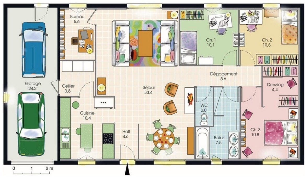 Plan maison plain pied 3 1175 680 home for Plan maison 5 chambres