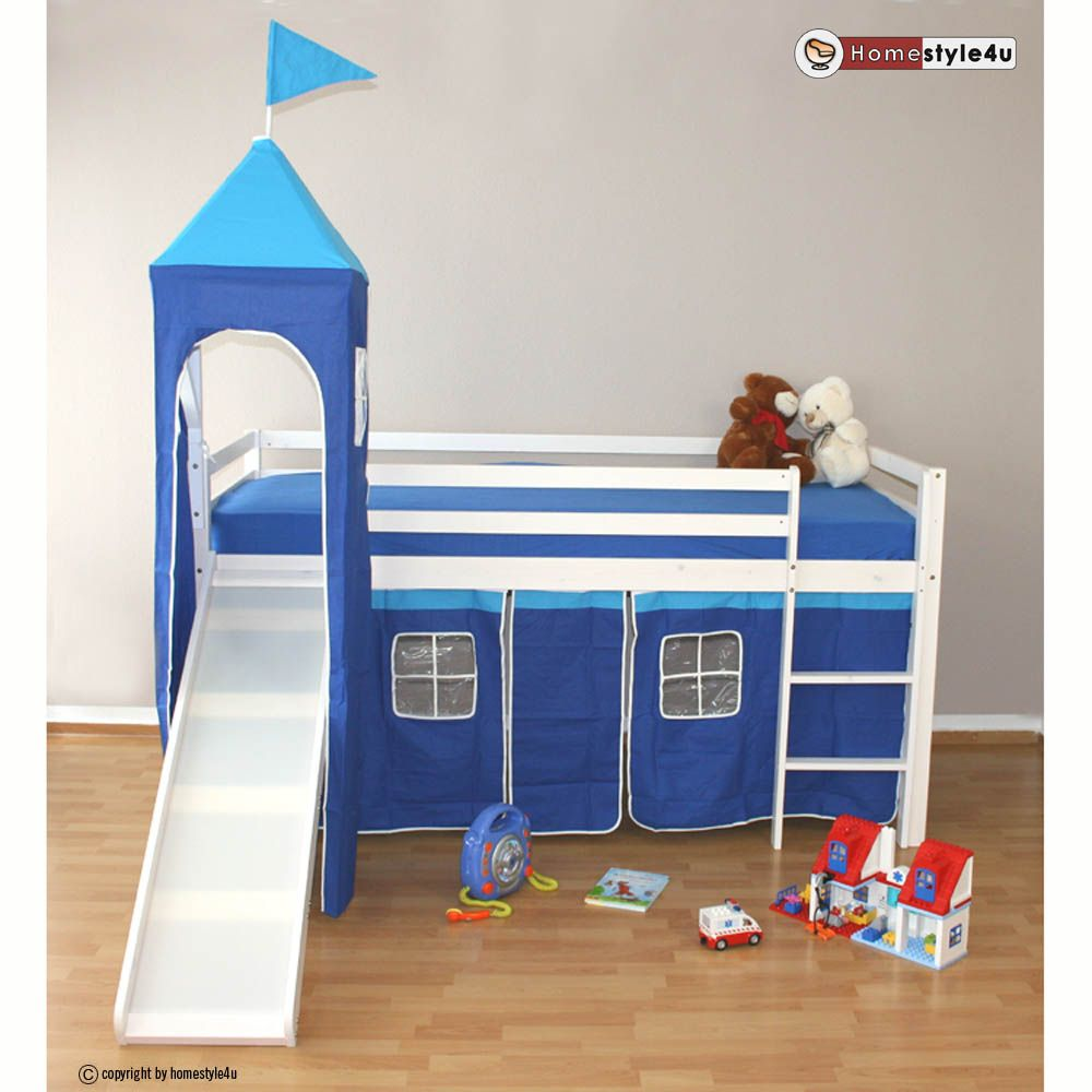 Best Cute Blue Children Bunk Bed With Slide Warmojo Com 400 x 300
