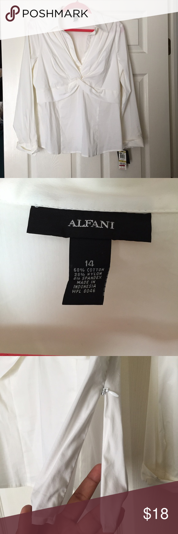 NWT Alfani blouse 14 White blouse with side zipper and cross detail on cleavage. New, no flaws. Alfani Tops