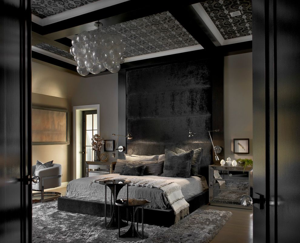 Stupendous Black Mirror Decorating Ideas For Gorgeous Bedroom Contemporary Design Ideas With Black Headboard Ceiling Detail Coffered Ceiling Gray And Black