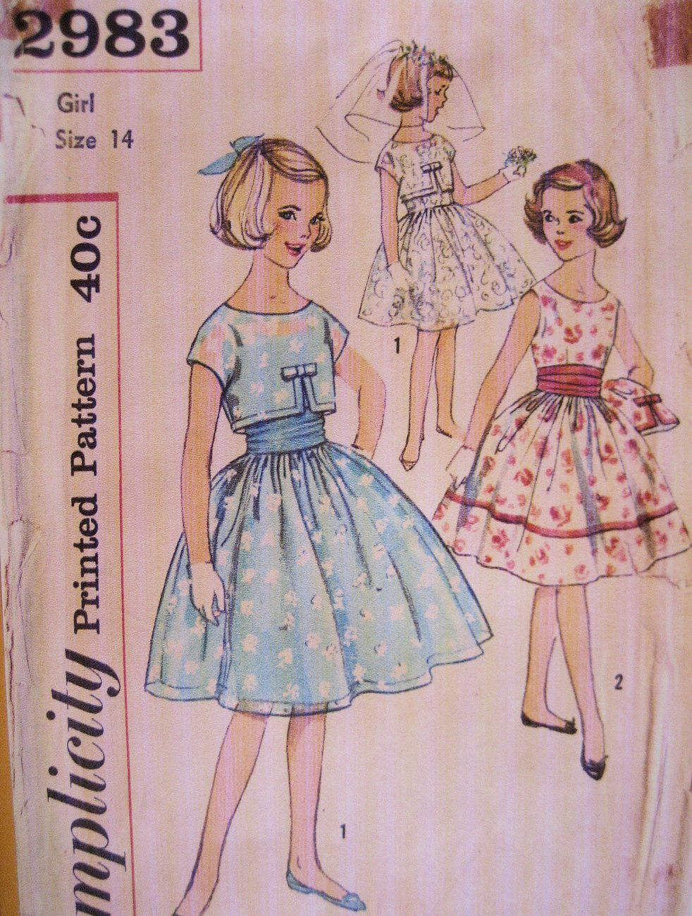 Simplicity 2983 Vintage 60s Pattern Girls 14 Jr Brides Maid Party ...