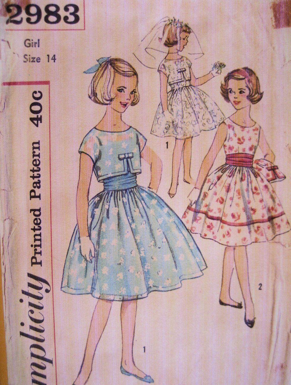 Simplicity 2983 Vintage 60s Pattern Girls 14 Jr Brides Maid Party ...