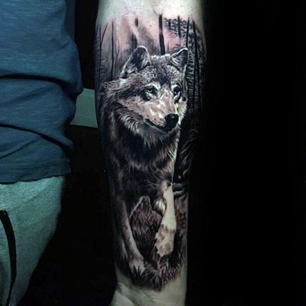 50 realistic wolf tattoo designs for men canine ink ideas naturelust pinterest wolf. Black Bedroom Furniture Sets. Home Design Ideas