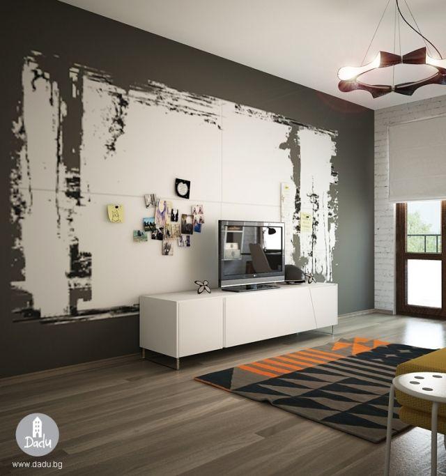 Lieblich Jugendzimmer Gestaltung Idee Schwarz Weiss Interessante Wandgestaltung