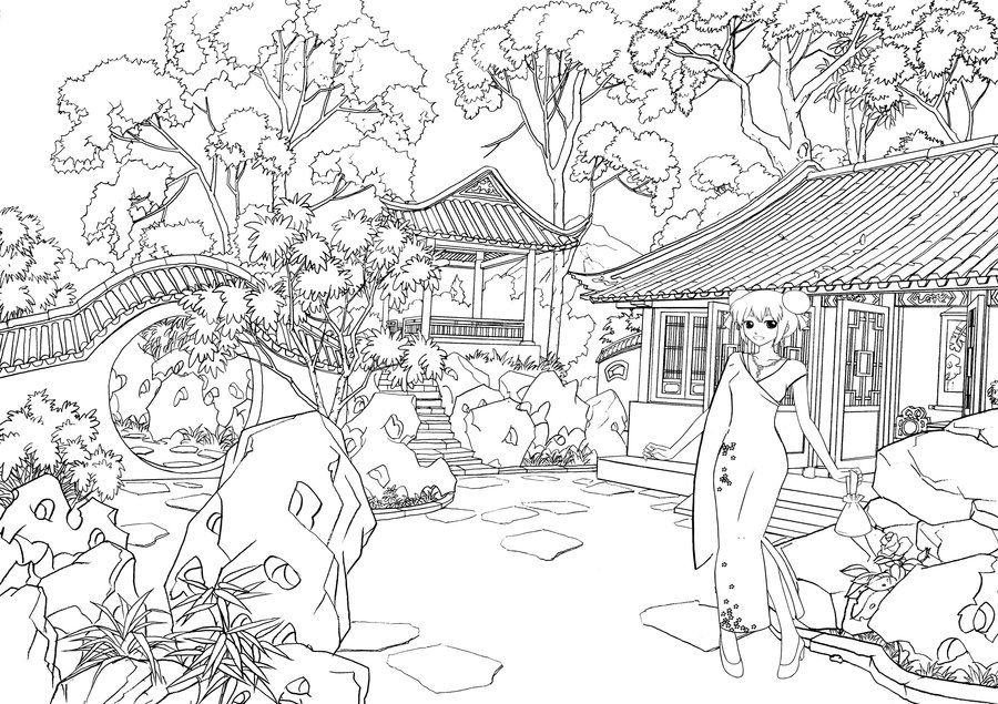 Japanese Garden Coloring By Yozoramikazuki On Deviantart Garden Coloring Pages Coloring Pictures Coloring Pages