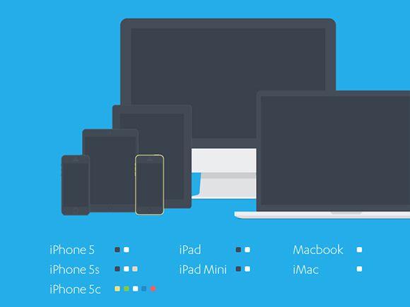 Set Of Flat Apple Devices Mockup Freebiesbug Photoshop Freebies Design Freebie Graphic Design Freebies