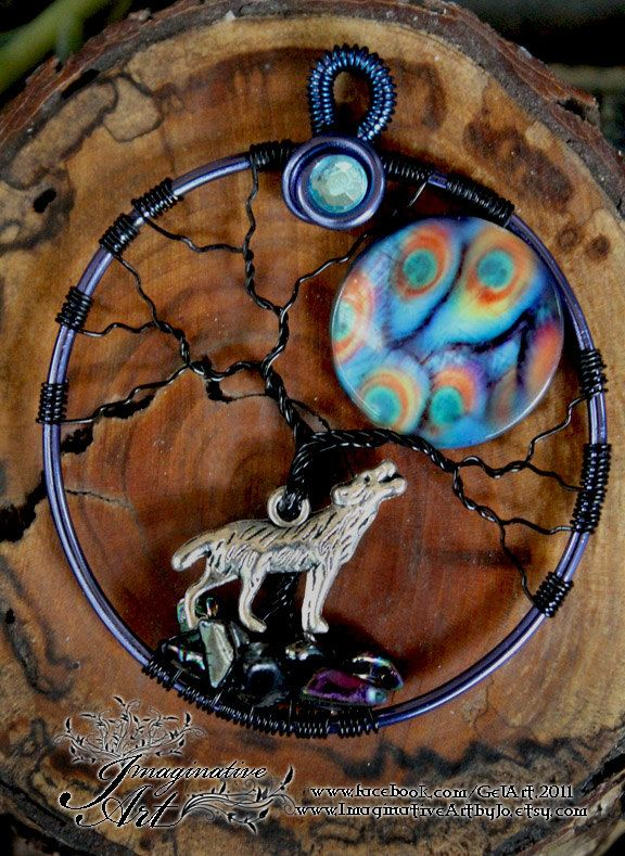 Tree of Life - Wolf with Peacock Moon | Basteln