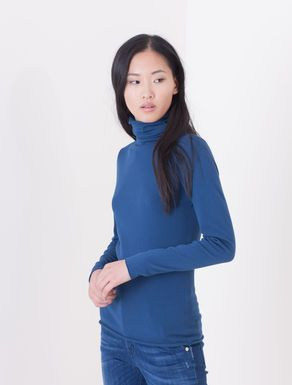 Viscose stretch polo-neck jumper