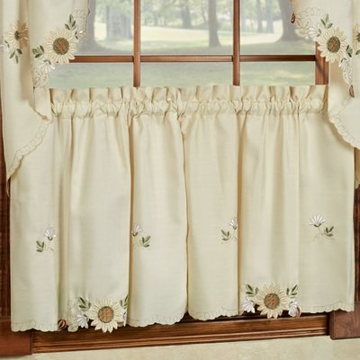 August Grove Natumbua Sunflower Embroidered Kitchen Tier Curtain Size 36 L X 54 W In 2020 Tier Curtains