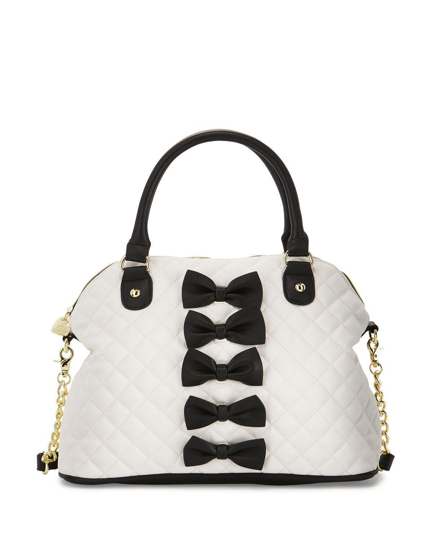 Chic Bows Dome Satchel Bag Black Handbags Wallets