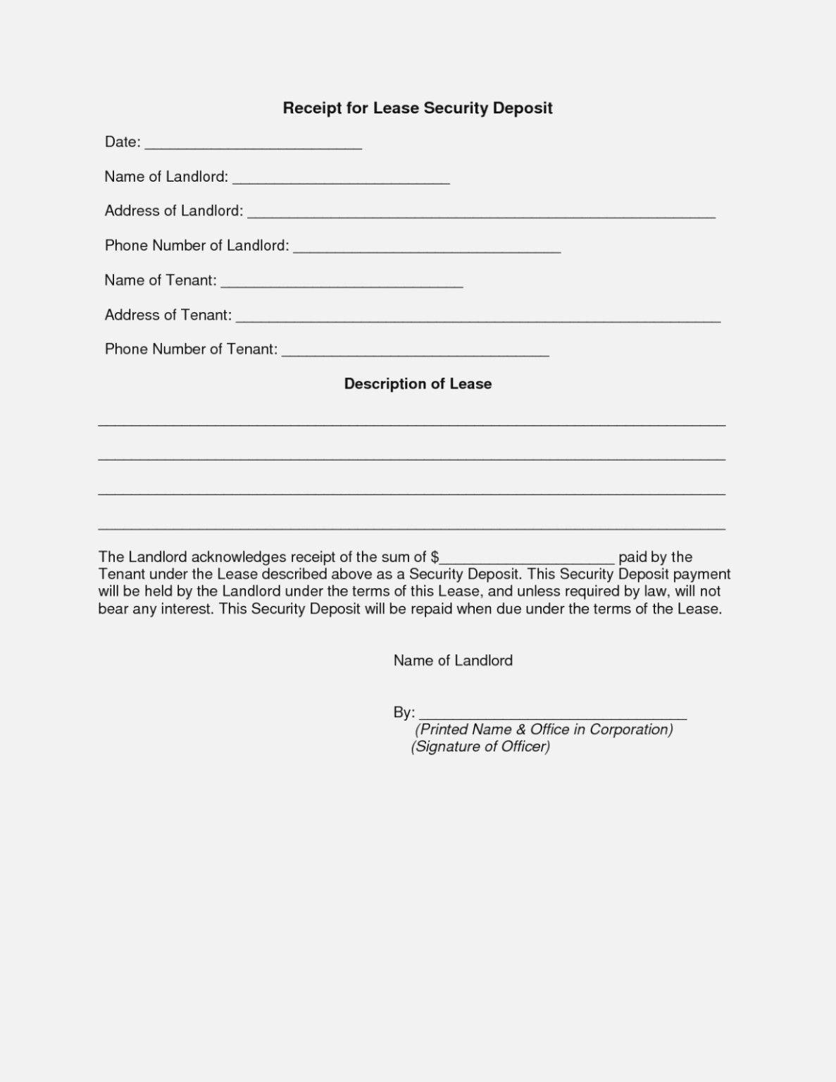 Security Deposit Return Form Template New 14 Quick Tips Regarding In 2020 Receipt Template Free Receipt Template Templates