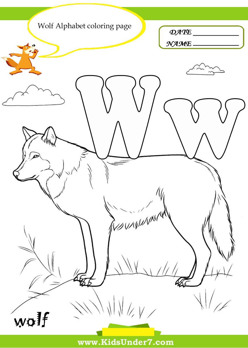 Letter w coloring pages preschool - Kids Under 7 Letter W Worksheets And Coloring Pages