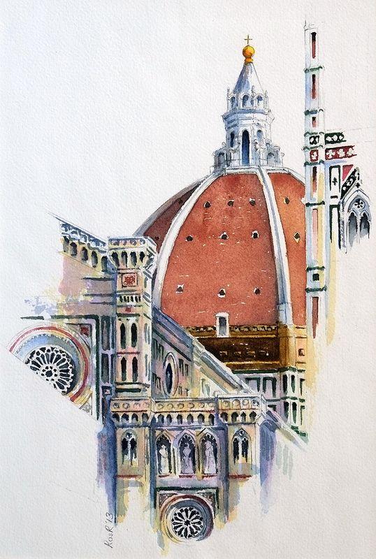 360 Duomo Florence Architecture Aquarelle Dessin