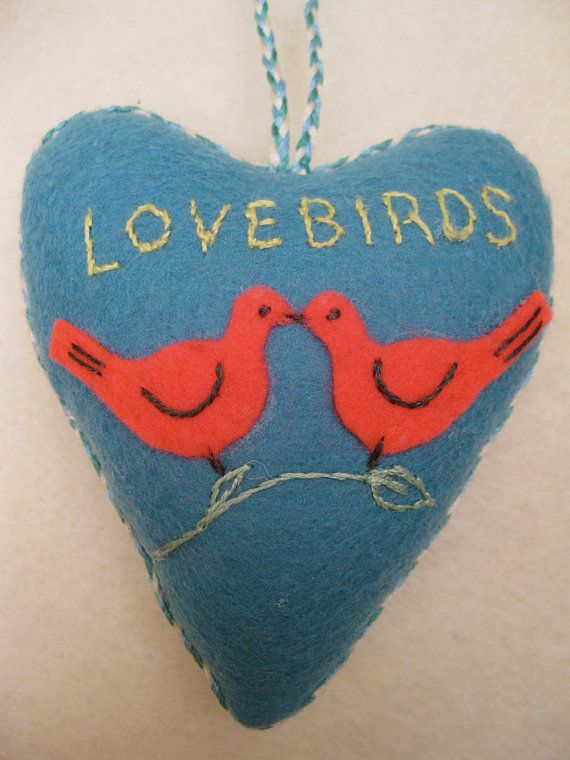 Lovebirds Heart  linocut printed hand embroidered by AntheaArt