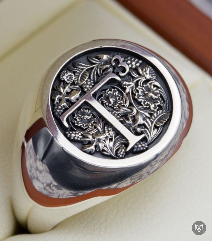 We Designed This Unique Monogram Signet Ring Based On The Ornate Image Of The Letter T Surrounded By Leaves F Custom Signet Ring Signet Ring Men Monogram Ring