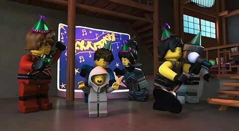All least Season 8 has this part with the ninjas singing