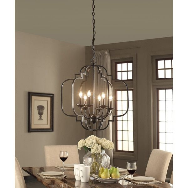 Moroccan 6 light dark bronze chandelier dark bronze black illuminate your dining table or entryway with this contemporary yet classic 6 light chandelier aloadofball Images