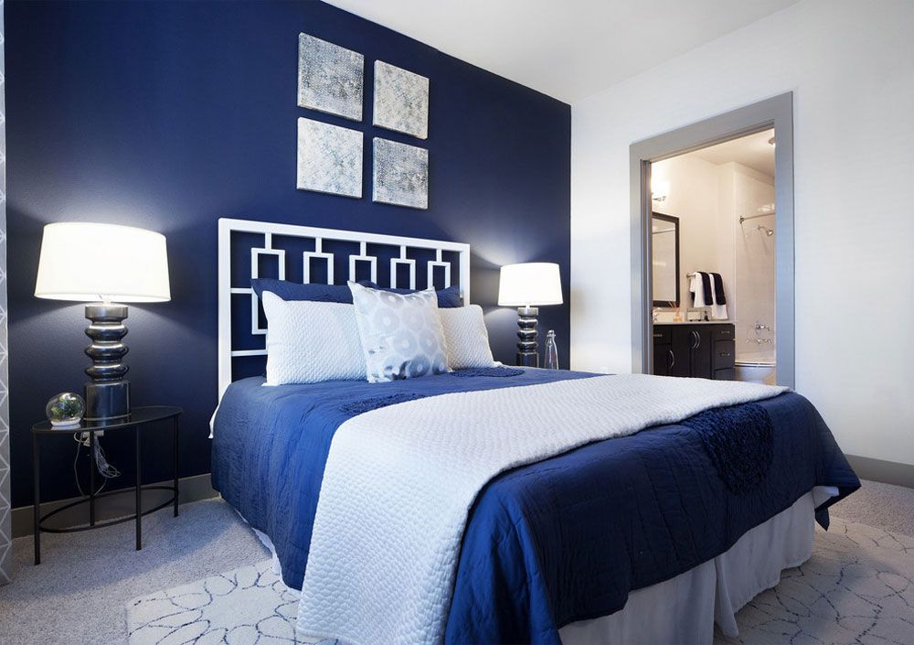 Elegant Blue Bedroom Designs With Iron Beds Decorated Lamps White Walls Blue Bedroom Design Blue Bedroom Home Decor Bedroom Elegant blue bedroom ideas