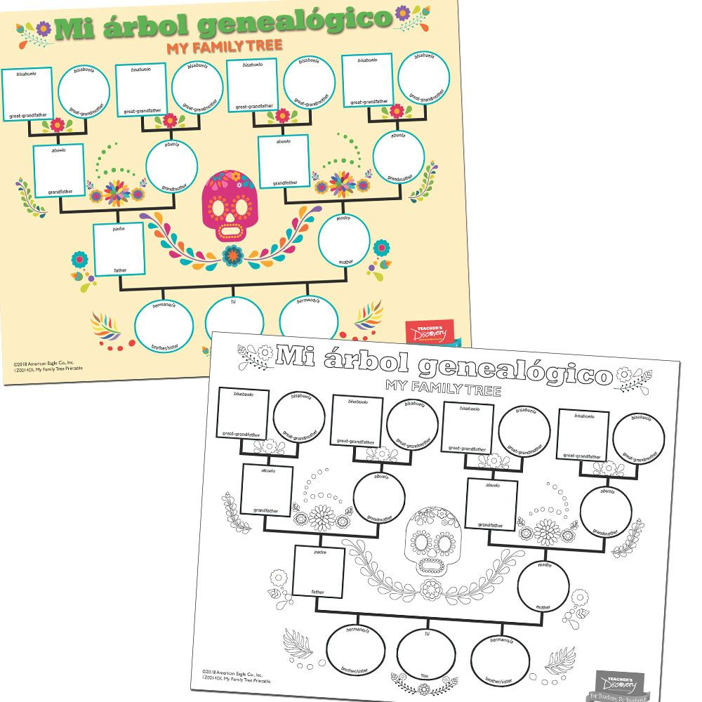 My Family Tree Spanish Printable Download Color Worksheets Spanish Colors Character Worksheets