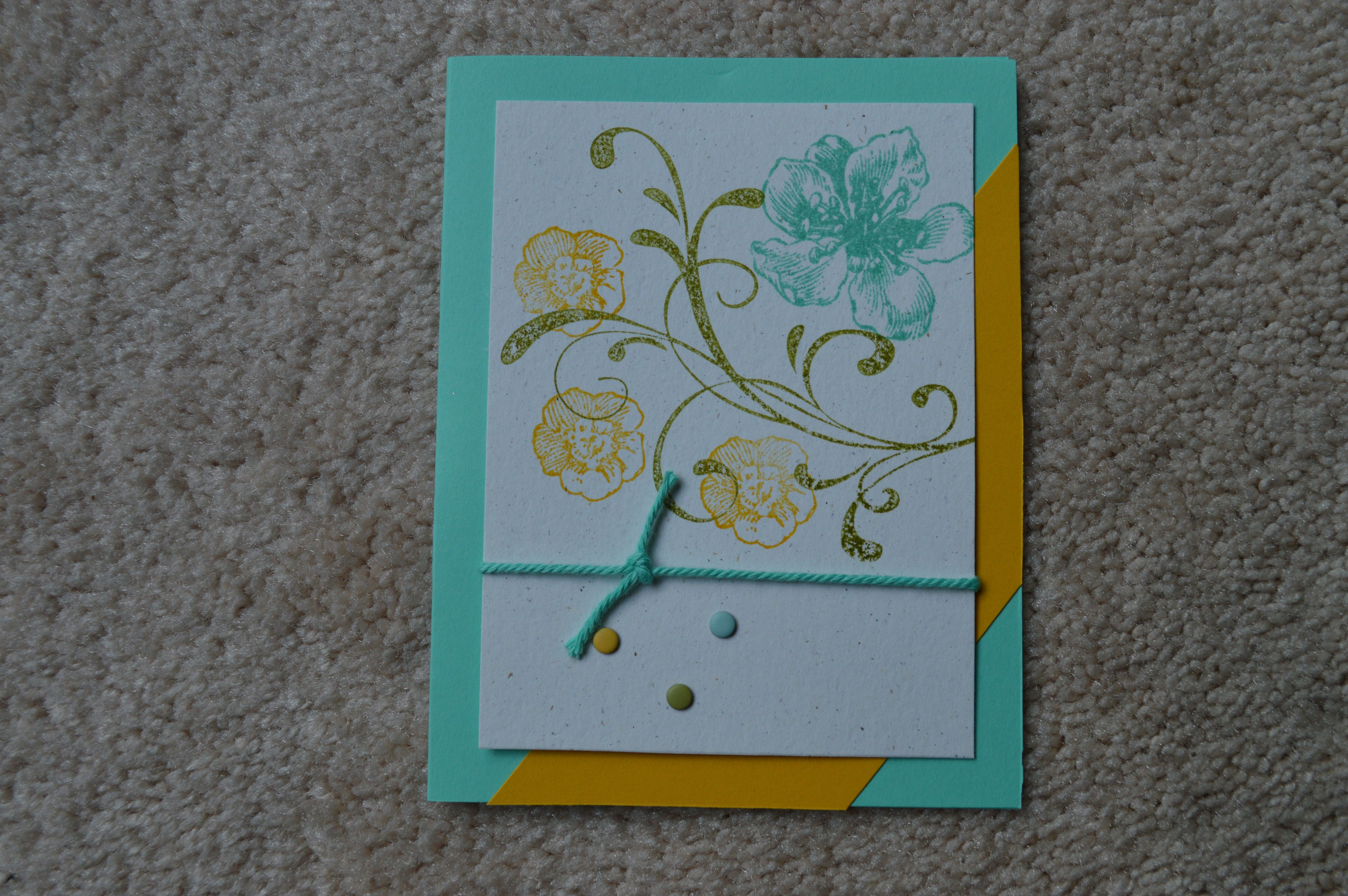 Everything Eleanor set provides the images for this card, which uses the new thick Bakers Twine and Candy Dots for embellishment.  Colors are Coastal Cabana, Crushed Curry, and Old Olive.  CASE'd from Linda Callahan.