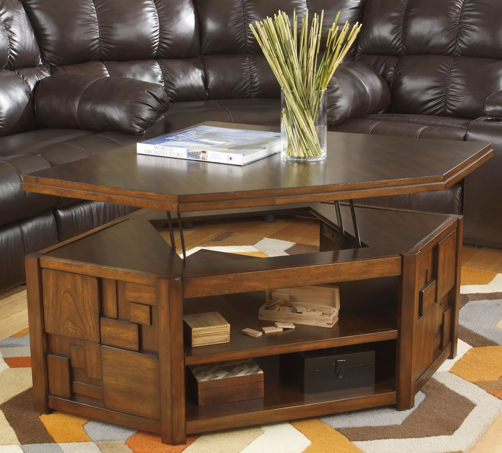 Corner pie shape cocktail table with lift top living - Corner tables for living room online ...